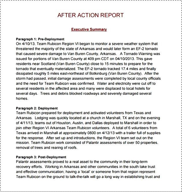 After Action Report Template Business