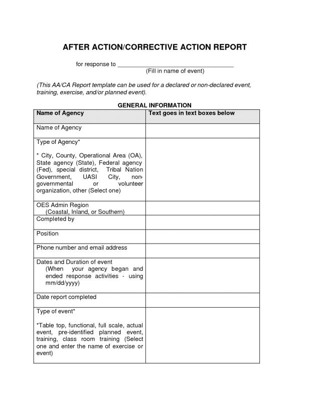 After Action Report Template Template Business