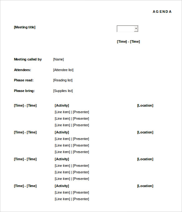 formal meeting agenda template - Physicminimalistics - free meeting agenda template microsoft word