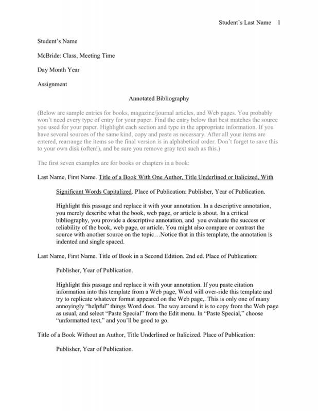 Annotated Bibliography Template Template Business