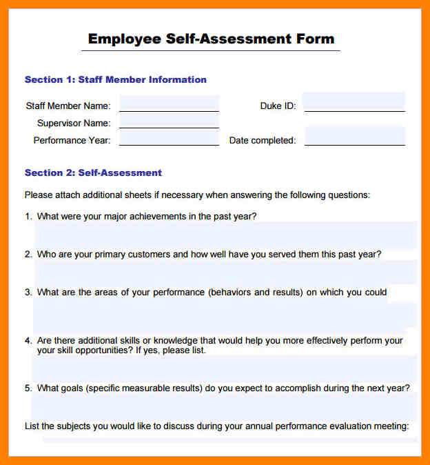Annual Performance Review Employee Self Evaluation Examples