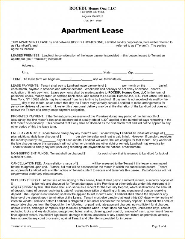 Apartment Lease Agreement Template Business - apartment lease template