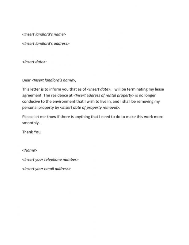 Apartment Lease Termination Letter Template Business