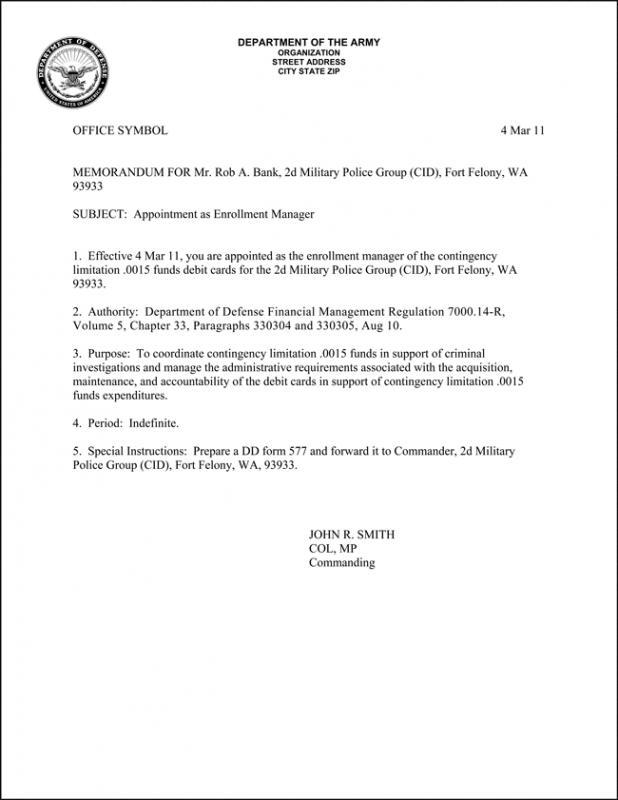 Army Memorandum For Record Template Business