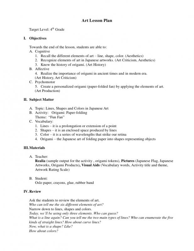 Art Lesson Plans Template Template Business - art lesson plans template