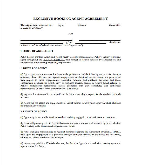 Artist Management Contract Template Business