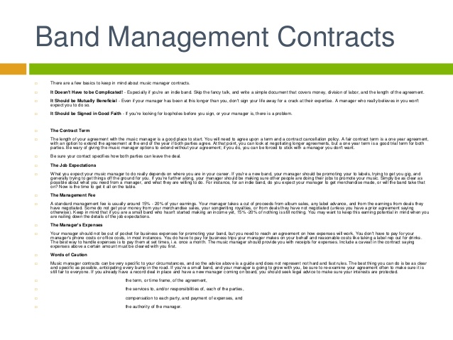 Artist Management Contract Template Business - management contract template