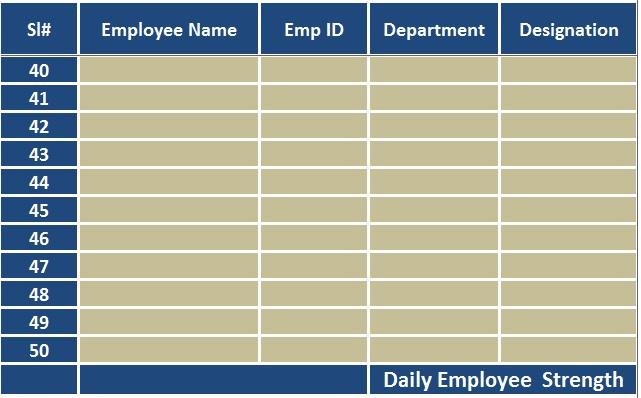 Attendance Sheet Excel Template Business