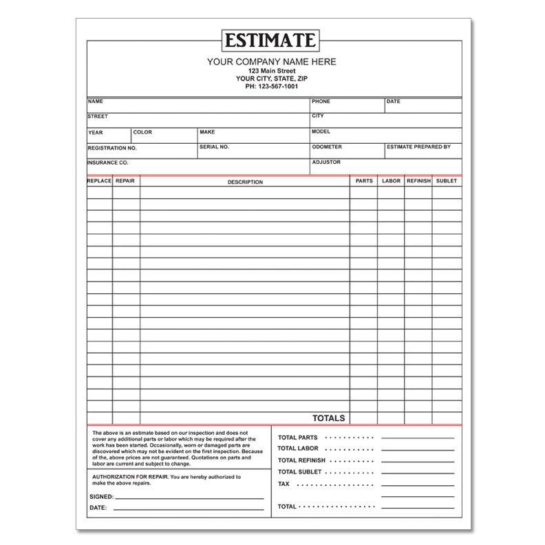 Auto Repair Estimate Template Template Business