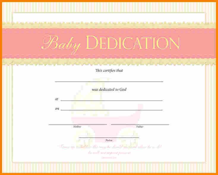 Baby Dedication Certificate template for Free Temploola - mandegarinfo
