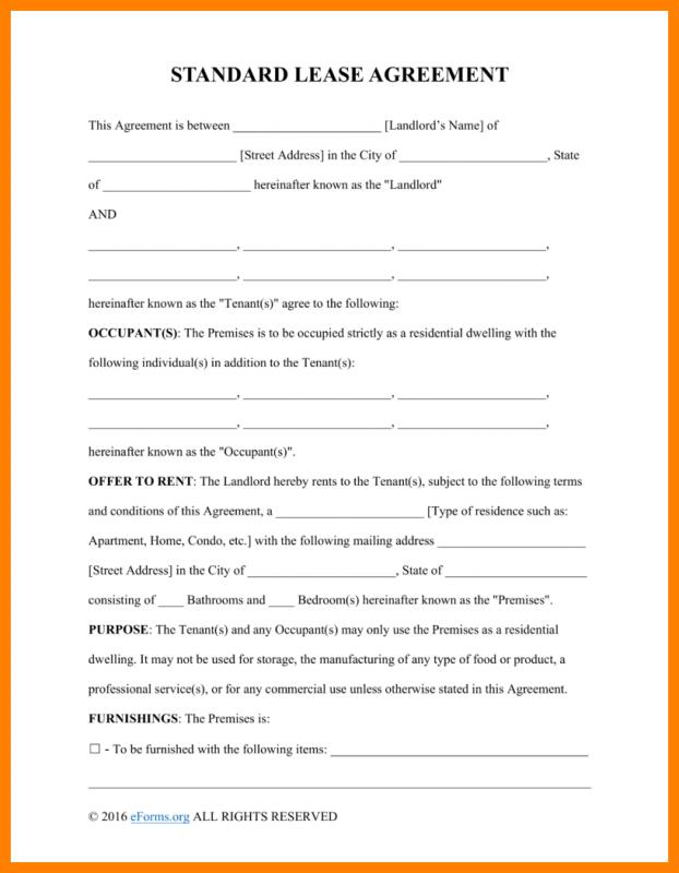 Basic Rental Agreement Fillable Template Business