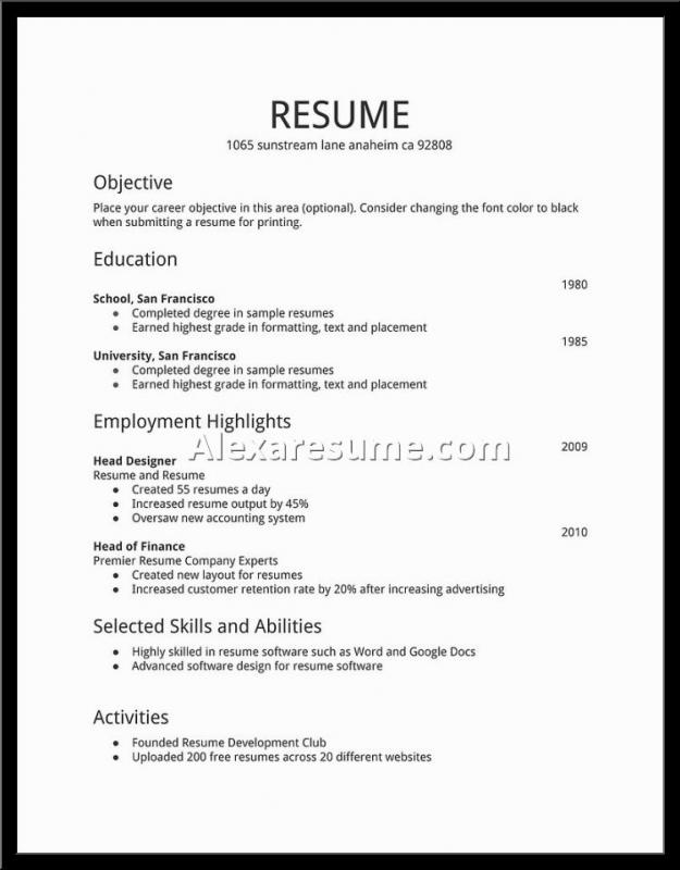 Basic Resume Samples Template Business - simple resumes samples