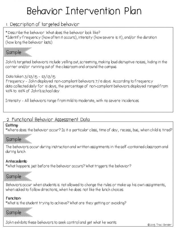 Behavior Intervention Plan Example Template Business