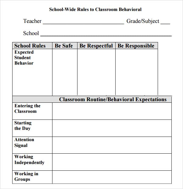 Behaviour Contract Template Free Behavior Contract Princess Style