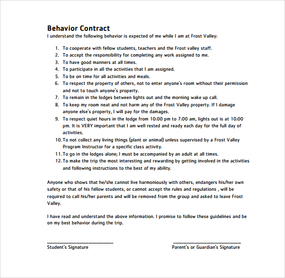 Behavioral Contract Template Template Business