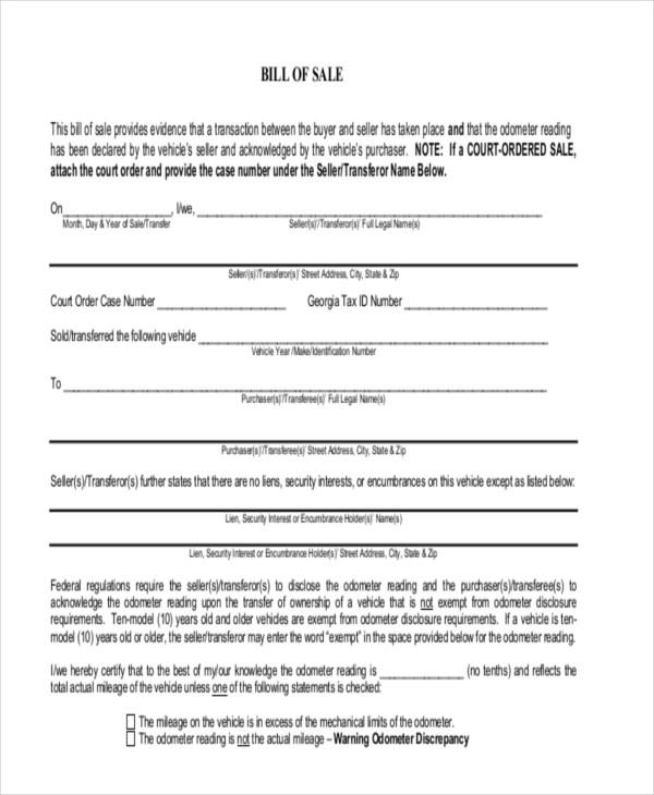 automobile bill of sale ga - Onwebioinnovate