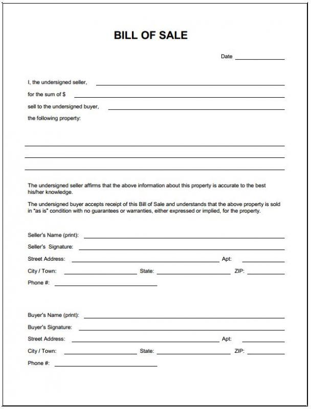 Bill Of Sale For Trailer Template Business - trailer bill of sales