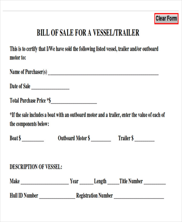 Bill Of Sale For Trailer Template Business - generic bill of sale