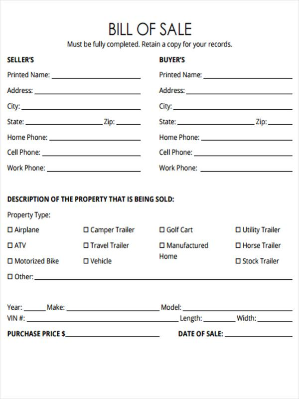 Bill Of Sale For Trailer Template Business