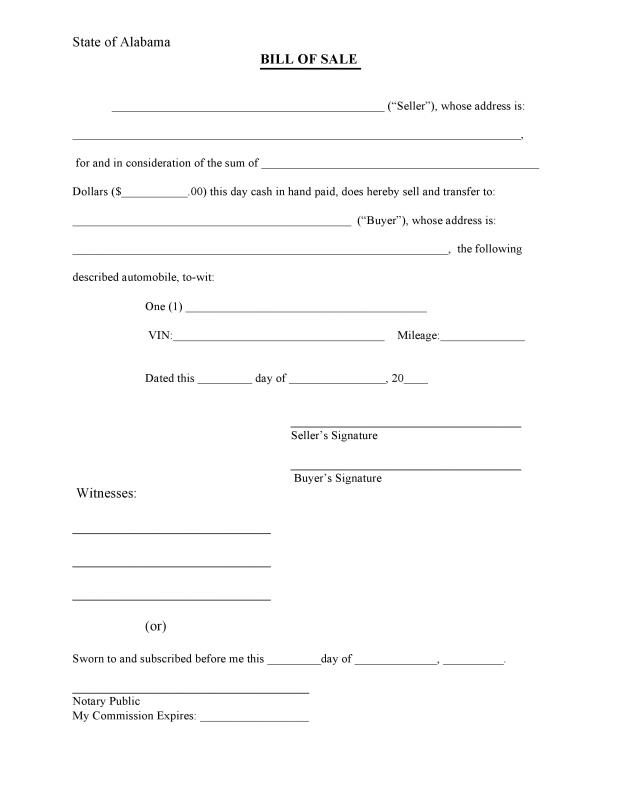 Bill Of Sale Form Pdf Template Business - bill of sale form in pdf