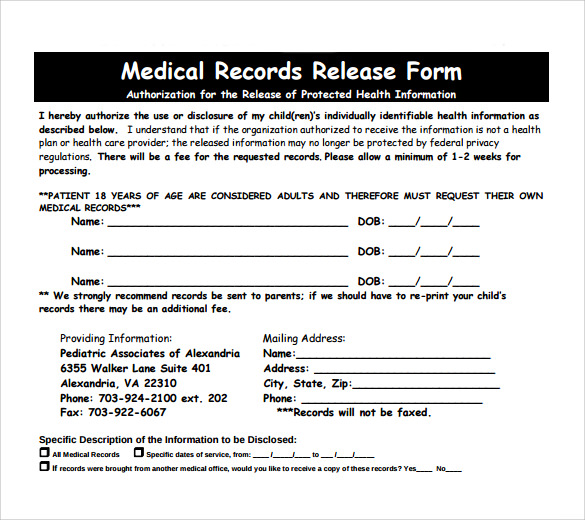 Blank Medical Records Release Form Template Business