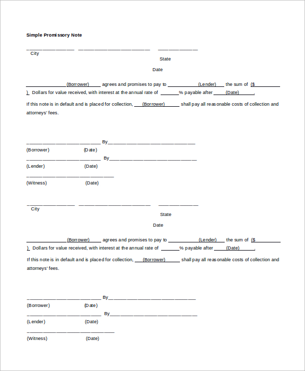 Blank Promissory Note Template Business
