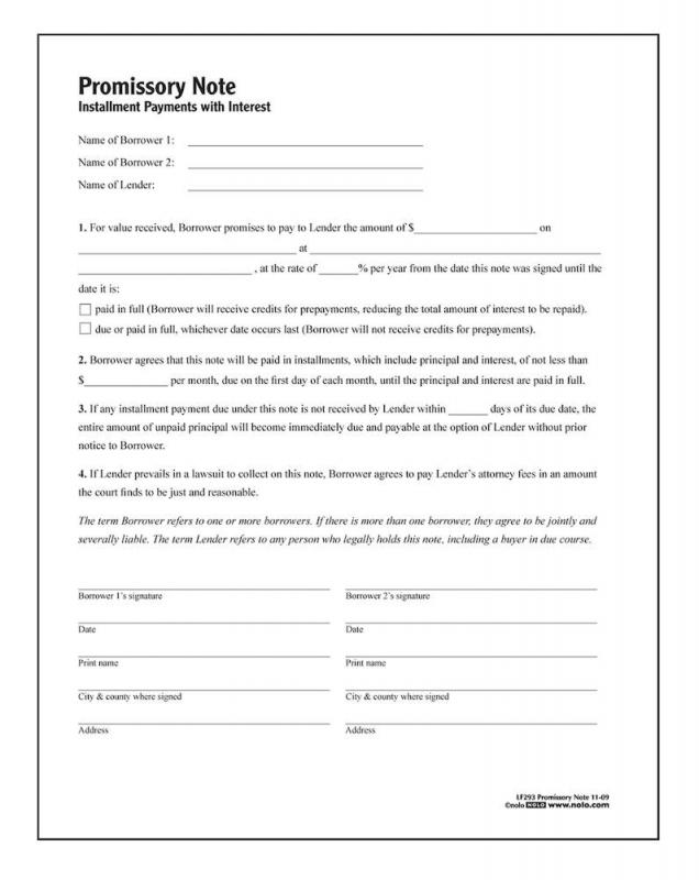 Blank Promissory Note Form Template Business
