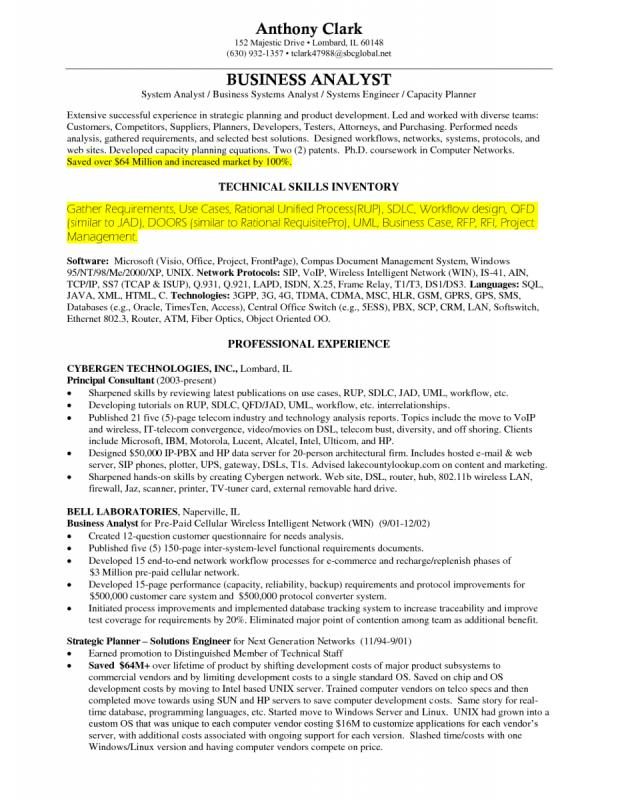 Business Analyst Resumes Template Business