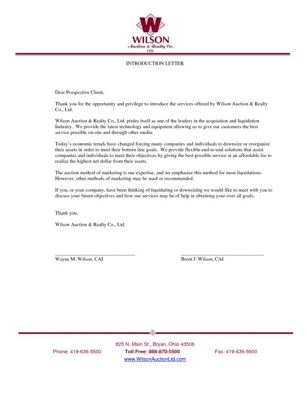 Business Introduction Letter Template Business