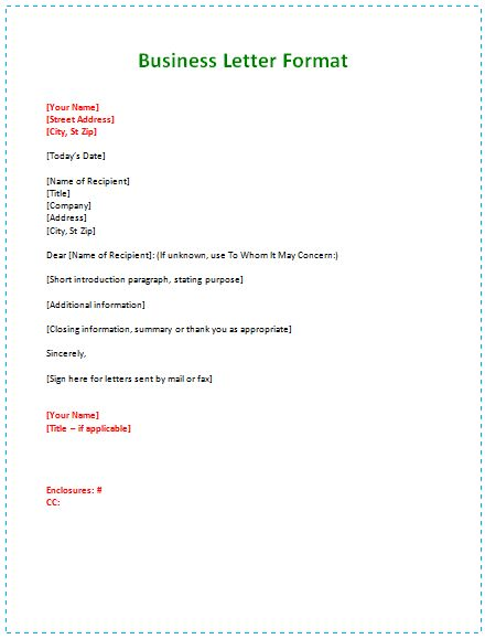 Business Letter Format Example Template Business