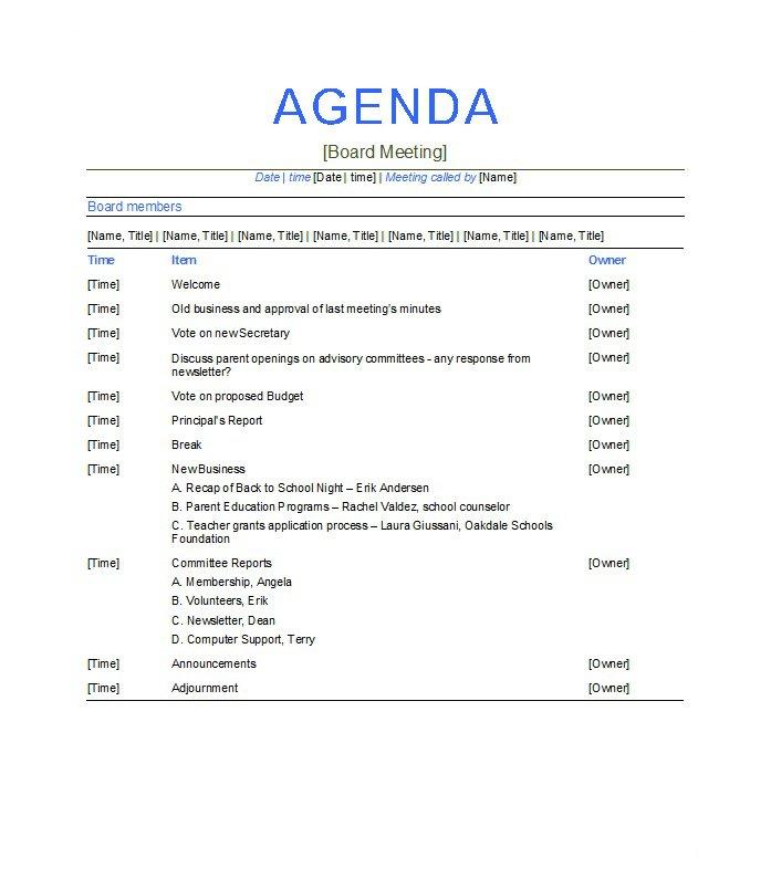 Business Meeting Agenda Template Template Business