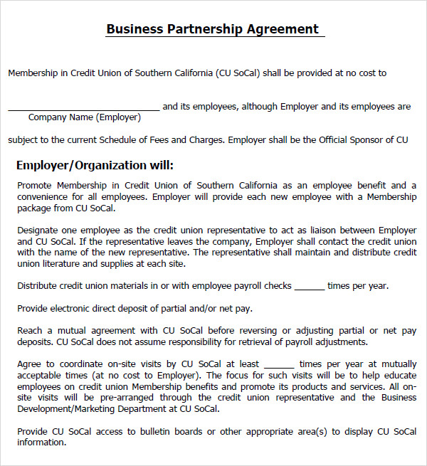 Business Partnership Agreement Template Business