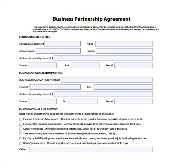 Business Partnership Agreement Template Business - sample partnership agreements