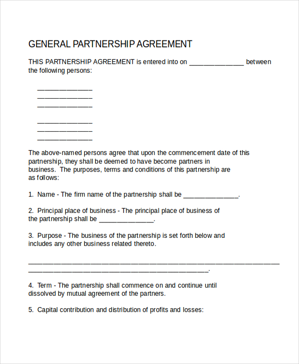 Business Partnership Agreement Template Template Business