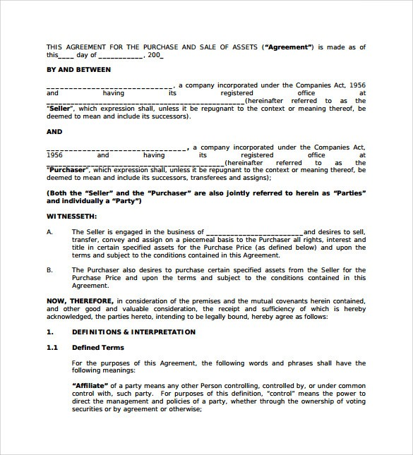 Business Purchase Agreement Pdf Template Business