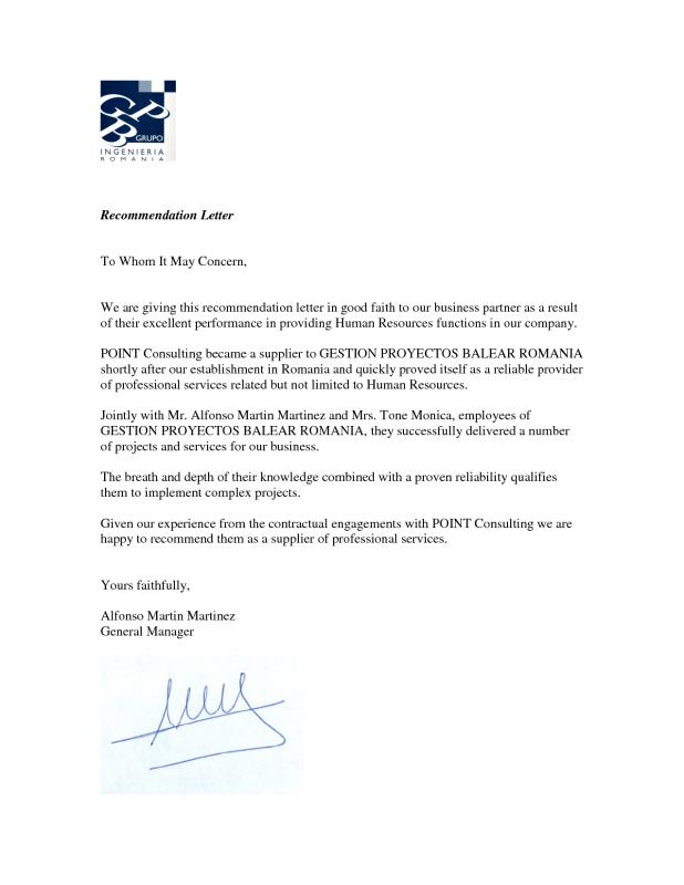 Business Reference Letter Template Business