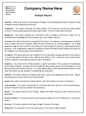 Business Report Format Template Business