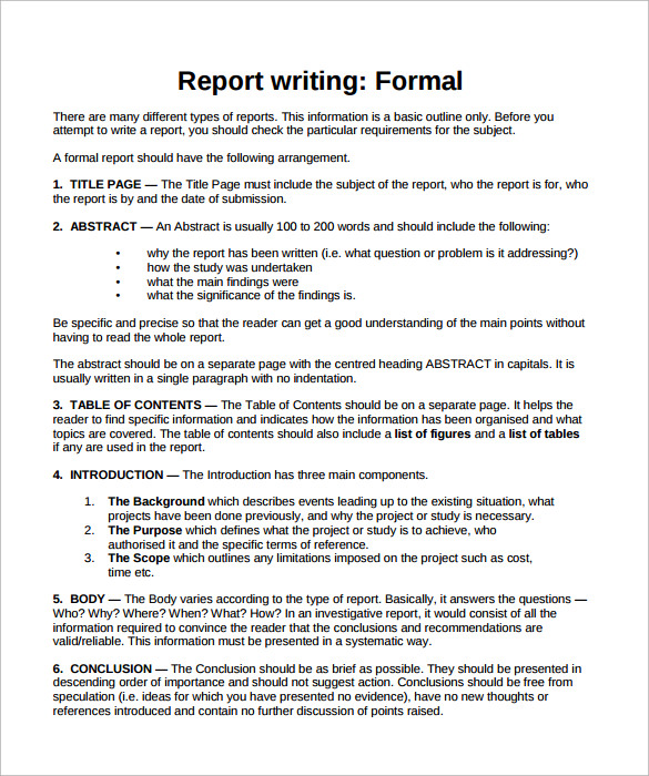 Business Report Format Template Business - analysis report format