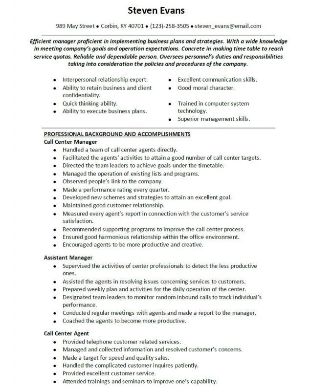 Call Center Representative Resume Template Business