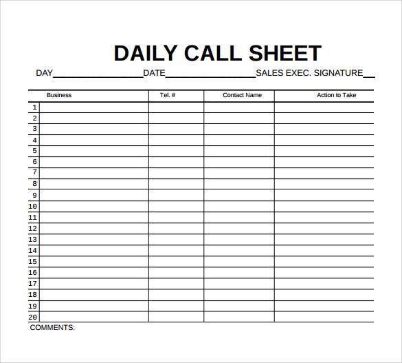 daily call sheets template - Ozilalmanoof - phone sheet template