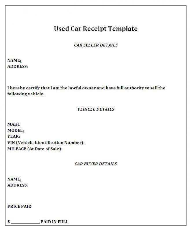 receipt for car sale - Towerssconstruction