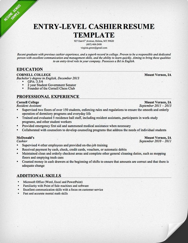 Cashier Resume Sample Template Business - resume templates entry level