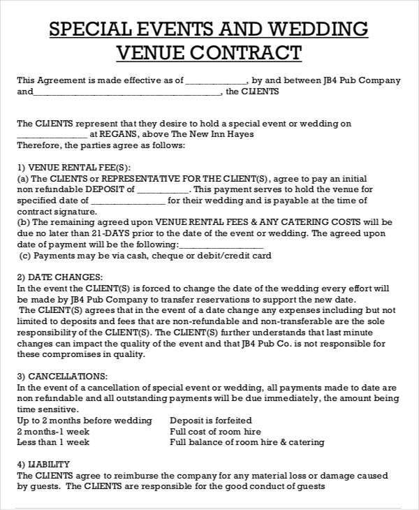 Catering Contract Sample Template Business