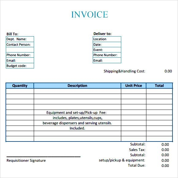 Catering Invoice Template Template Business