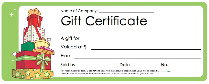 Christmas Gift Certificate Templates Template Business