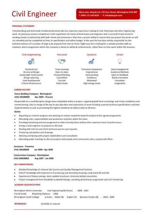 resume example civil engineering student