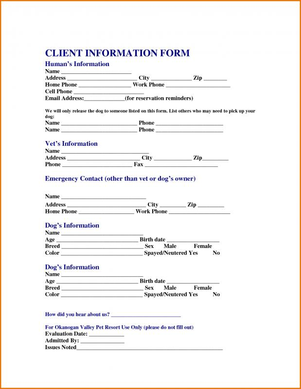 Client Information Sheet Template Business - client information sheet