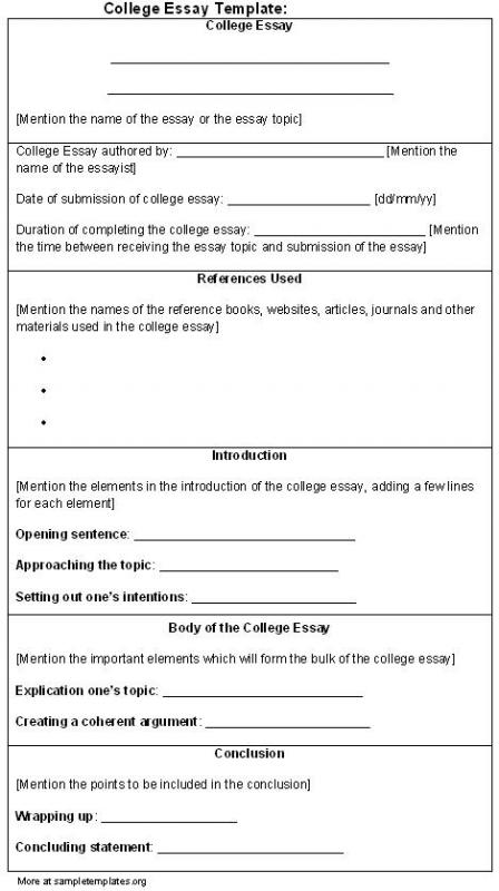 College Essay Format Template Template Business