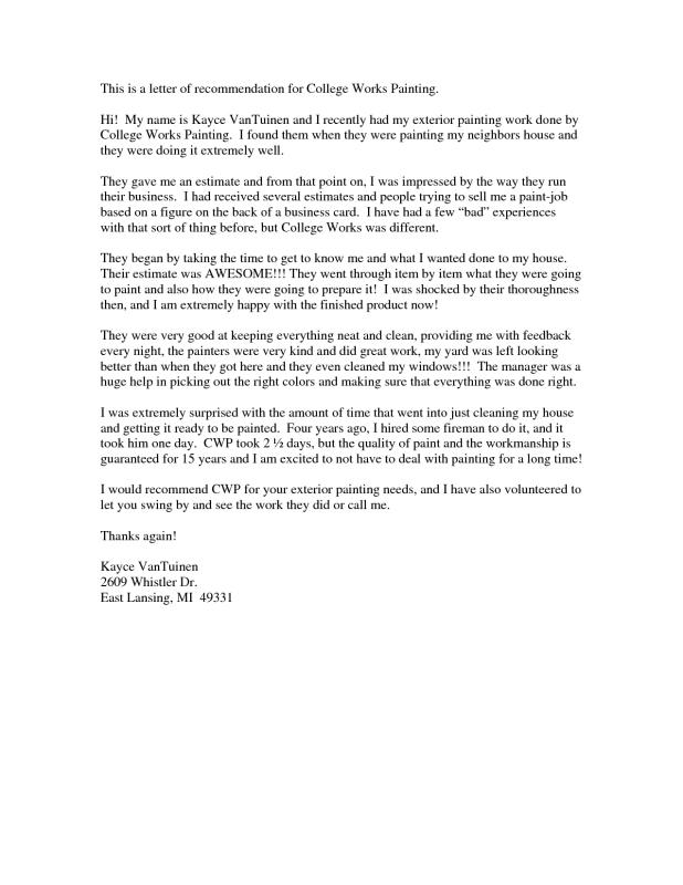 College Letter Of Recommendation Template Template Business