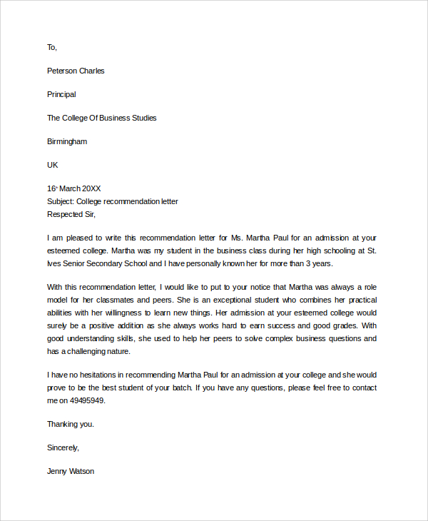 College Recommendation Letter Sample Template Business